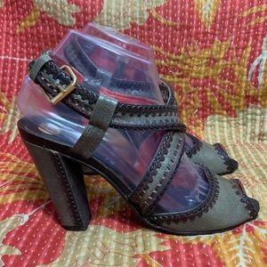 BCBG MAXAZRIA Ankle Buckle Open Toe Sandal Heels